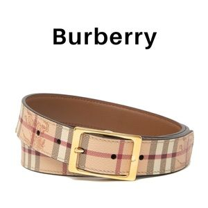 NWT Burberry Haymarket Reversible Plaid Belt